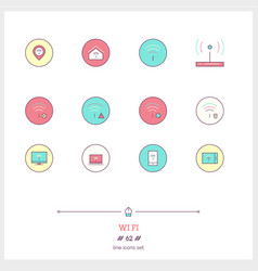 Color line icon set of wifi internet objects and vector