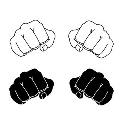 Comics style clenched man fists black and white vector image vector image