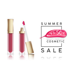 Cosmetics sale banner with lip-gloss and pink vector