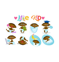 Cute african american baby boy set toddler happy vector