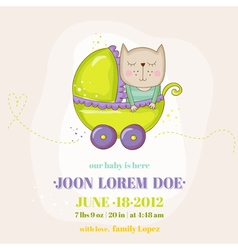 Cute baby cat in a carriage - baby shower card vector