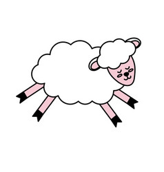 Cute sheep animal with wool design vector