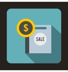 Dollar sign and shopping bag for sale icon vector image