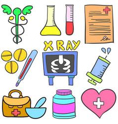 Doodle of object medical set vector