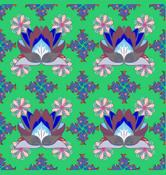 embroidery colorful floral seamless pattern with vector image vector image