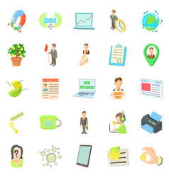 Employee icons set cartoon style vector