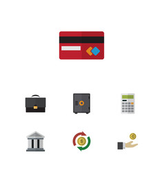 Flat icon incoming set of bank calculate hand vector