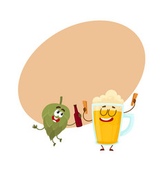 Funny beer glass and hop characters having fun vector