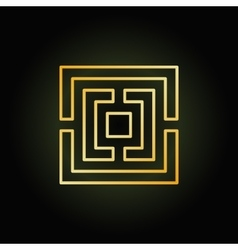 Gold thin line labyrinth icon vector