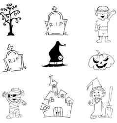 Halloween characters mummy witch zombie doodle vector