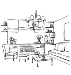 hand drawn room interior sketch furniture vector image vector image