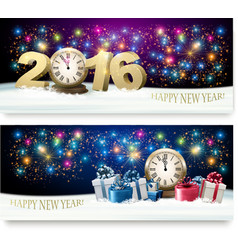 Happy New Year banners with presents and fireworks vector image vector image