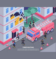 isometric firefighter vector image