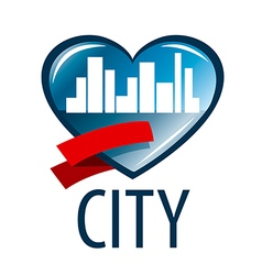 logo in the heart of the white city vector image vector image