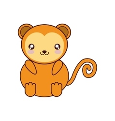Monkey kawaii cute animal icon vector