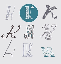 Original letters k set isolated on light gray vector
