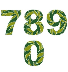Ornamental figures numbers decorated with summer vector