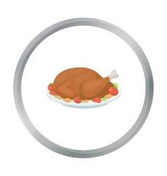 Roasted turkey icon in cartoon style isolated on vector