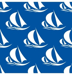 Seamless pattern of yachts and sailing ship vector image