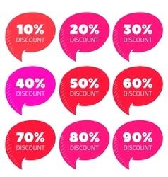 Set of pink percent discount speech bubble sale vector