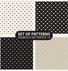 set of seamless graphic patterns hearts vector image