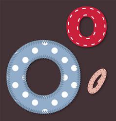 Set of stitched font - Letter O vector image vector image
