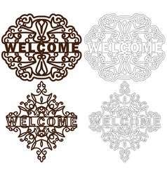 set of welcome plastic or paper plate template vector image