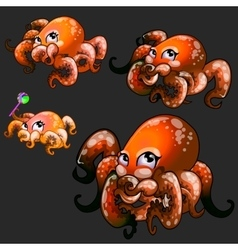 Set orange cute octopuses on a black background vector image