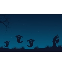 Silhouette of Halloween ghost and witch vector image vector image
