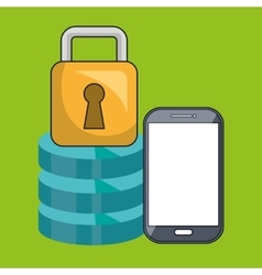 Smartphone padlock data base vector