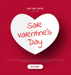 Template of a red banner with a white paper heart vector