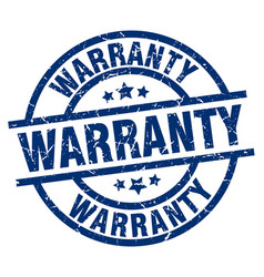 Warranty blue round grunge stamp vector