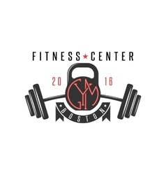 Logo gym hipster kettlebell and athletic barbell vector