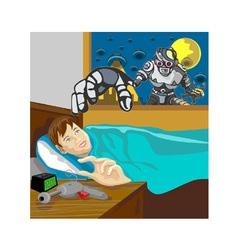 Alien Robot Snatching Kid vector image