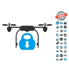 Drone drop cargo icon with free bonus vector