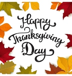 Happy thanksgiving day hand drawn lettering with vector