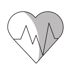 Isolated heart with pulse design vector