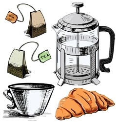 Tea time colorful objects collection vector