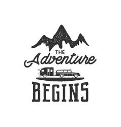 vintage adventure hand drawn label design the vector image