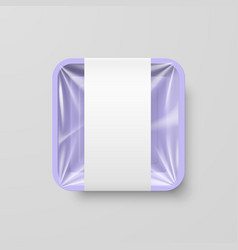 Empty purple plastic food square container with vector