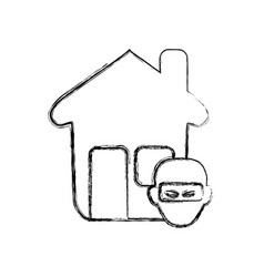 Figure house with thief danger symbol vector