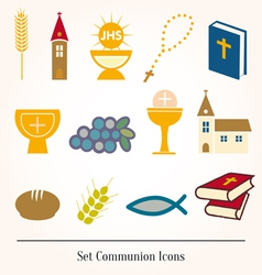 Set of a communion depicting traditio vector