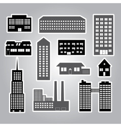 Buildings and houses stickers vector