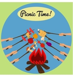 Picnic around the campfire vector