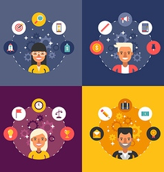 Set of in flat design style business icons and vector