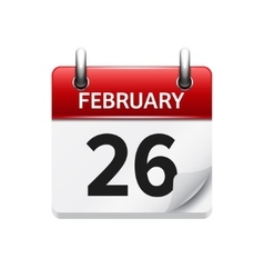February 26 flat daily calendar icon date vector