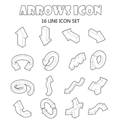 Arrow icons set cartoon style vector image