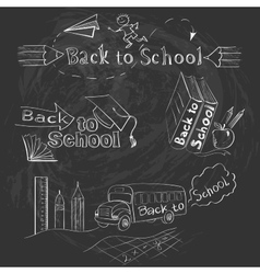 Back to school calligraphic designs label set vector