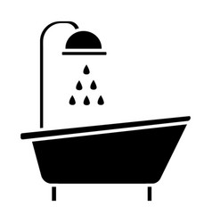 bathtub shower icon black vector image