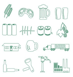 beer drink and pub simple outline icons eps10 vector image vector image
